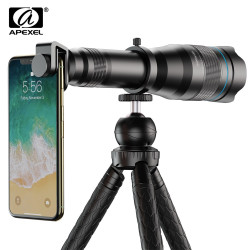 APEXEL HD 60X metal Telescope Lens Phone Camera Super Telephoto Monocular + Extendable Tripod For iPhone Huawei all smartphones