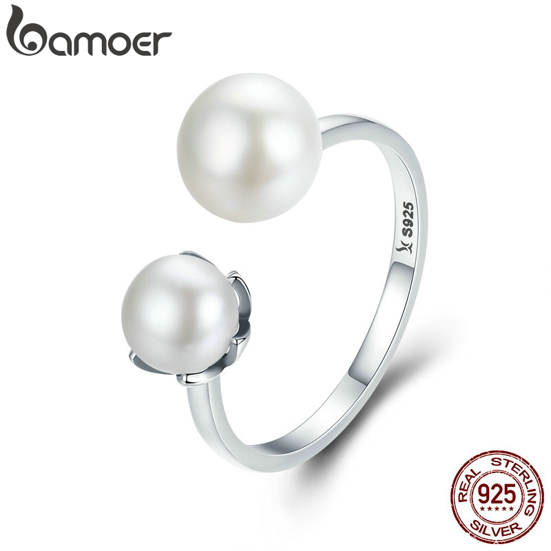 BAMOER Genuine 100% 925 Sterling Silver Double Ball Finger Ring Adjustable Women Ring Luxury Sterling Silver Jewelry SCR192(China)
