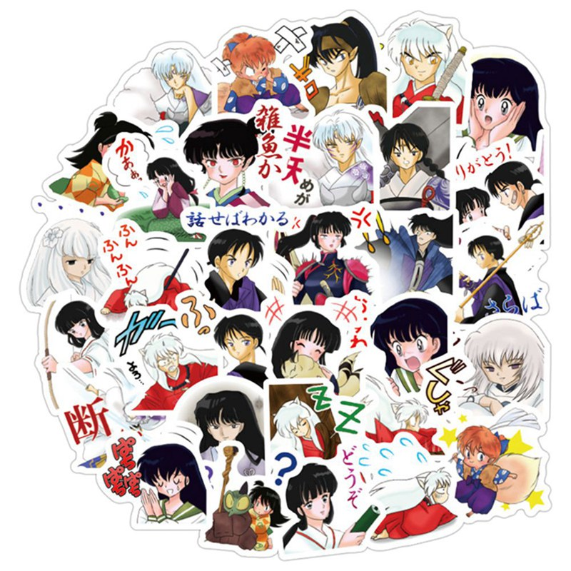 40pcs/set Japanese Anime Inuyasha Paper Sticker Decoration DIY Diary Stickers Scrapbooking Label Bicycle Skate Sticker Set