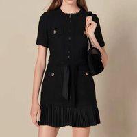 Woman Black Tweed Dress 2019 Fall Elegant Pleated Dresses