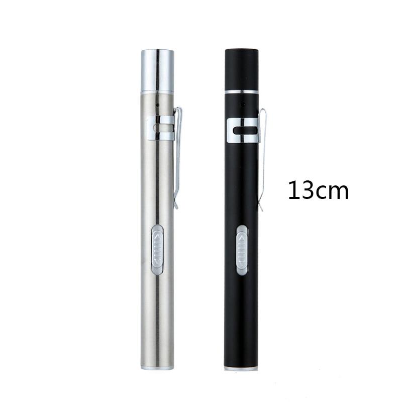 Stainless steel Pen Light USB Rechargeable Mini Nursing Flashlight LED Torch