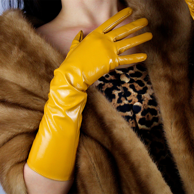 40cm Patent Leather Gloves Long Section Warm PU Emulation Leather Mirror Bright Leather Yellow Egg Yolk Ginger Yellow PU33-40