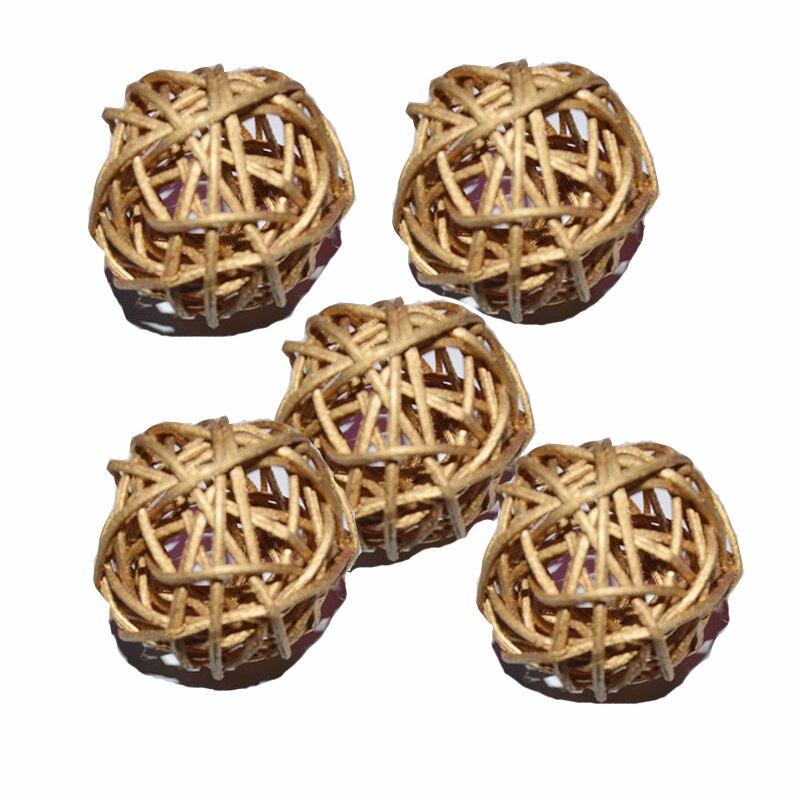 Ротанговые плетеные тростниковые шары диаметром 5 см для сада патио, свадебные, вечерние украшения, DIY для тайского стиля гирлянды - Цвет корпуса: golden