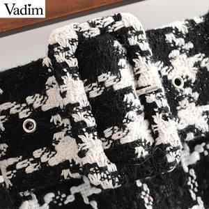 Image 4 - Vadim Nữ Sang Trọng Kẻ Sọc Tweed Mini Thắt Nơ Tất Dây Kéo Sau Lưng Một Dòng Retro Cơ Bản Nữ Giản Dị BA873