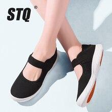 STQ Zapatos planos de plataforma para Mujer, zapatillas informales de malla transpirable, Zapatos náuticos, Señora, para otoño, 2020