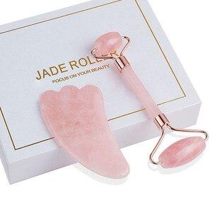 Jade Roller Facial Gezicht Jade Massage Roller Rose Quartz Schraper Jade Massager Gereedschap Afslanken Gezicht Natuurlijke Rimpel Verwijderen(China)