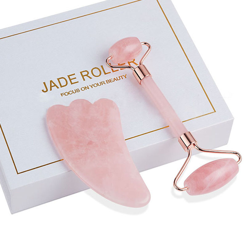 Jade rolo facial rosto jade massagem rolo rosa raspador de quartzo jade massageador ferramentas emagrecimento rosto natural remoção do enrugamento
