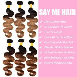 Image 3 - 옹 브르 바디 웨이브 번들 (Closure Ombre Human Hair 3 4 Bundles With Closure Remy) 브라질 헤어 위브 번들 (Closure Remy)