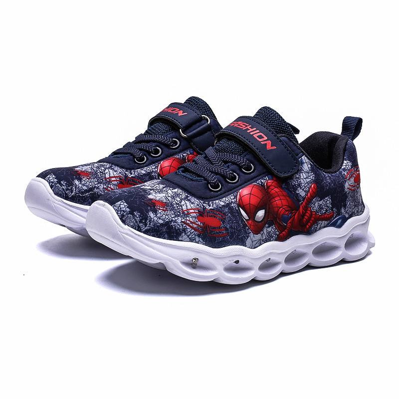 2020 Boys Led Shoes Girls Cartoon Light up Luminous Sneakers Glowing Illuminated Spiderman Running  Shoes for Kids 6