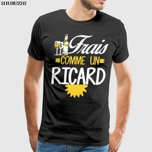 100% algodón cuello redondo personalizado impreso hombres camiseta Frais comme un ricard vino camiseta hombres moda algodón camiseta hombre Camiseta