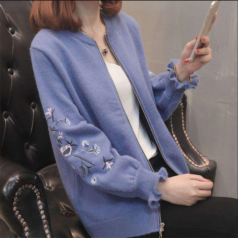 2019 The New Spring Autumn Rose Embroidery Plus Size Women Embroidered Sweater Long Sleeve Zipper Cardigan Coat