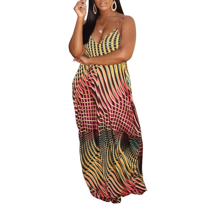 2020 Women Summer Long Maxi Dress Sleeveless Strap V-Neck Beach Loose Party Night Club Bandage Elegant Dresses Vestidos