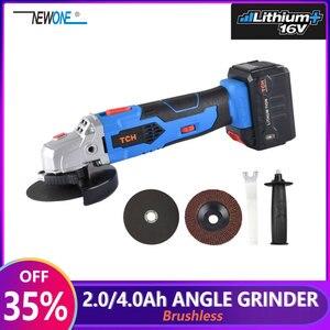 Image 1 - 16 v 무선 브러시리스 리튬 이온 앵글 그라인더 그라인딩 전동 공구 커팅 및 그라인딩 머신 폴리 셔 100/115mm 휠