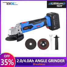 16V Cordless Brushless Lithium Ion Angle Grinder Grinding Power Tool Cutting and Grinding Machine Polisher 100/115mm Wheel