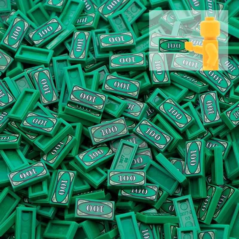 50pcs Cash Dollar Bill City Accessories Building Blocks Euro Military Printed Tile MOC Brick Toys Compatible LegoINGlys Friends