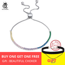 ORSA JEWELS Real 925 Adjustable Bracelet With Single Row Transparent ZirconSterling Silver Chain Dating Collocation Jewelry SB43(China)