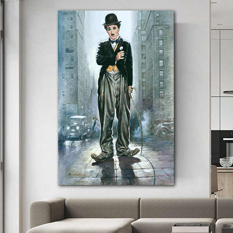 Charlie Chaplin Portrait Art Oil Painting On Canvas Abstract Wall Art Pictures For Living Room Bedroom modern decoration Unframe