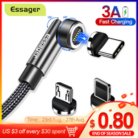 Essager 3A cavo magnetico a ricarica rapida Micro USB tipo C caricatore magnetico per iPhone Xiaomi cellulare 540 ruota cavo