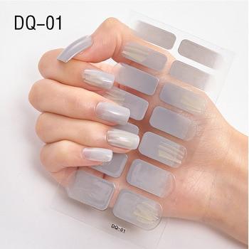 14pcs/sheet Glitter Gradient Color Nail Stickers Nail Wraps Full Cover Nail Polish Sticker DIY Self-Adhesive Nail Art Decoration 132
