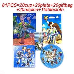 Image 3 - 81 pcs 디즈니 토이 스토리 일회용 종이 냅킨 배너 식탁보 밀짚 컵 플레이트 베이비 샤워 생일 파티 장식 용품