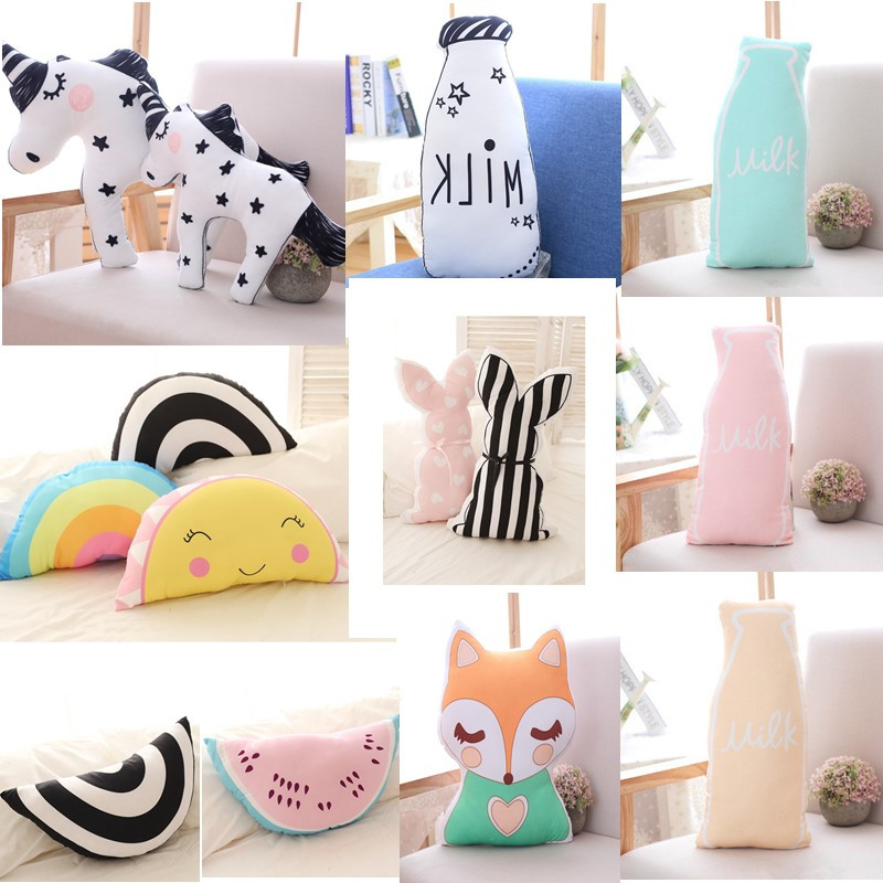 Cartoon Baby Plush Pillow Animal Shaped Cushion Kid Sleeping Toy Pillows Infant Comforting Doll Home Decoration