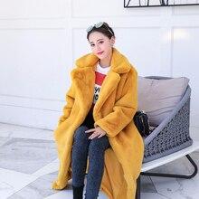 Модное однотонное роскошное пальто из искусственного меха Новое поступление Корейская Толстая теплая Длинная зимняя куртка женская Свободная Элегантная куртка femme