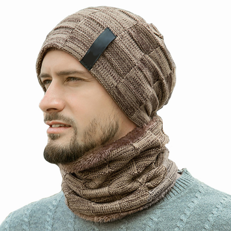 Fashion Winter Hat Neck Warmer Knitted Hat Scarf Set Warm Knit Beanies Balaclava Winter Hat For Men Women Cap Skullies Bonnet