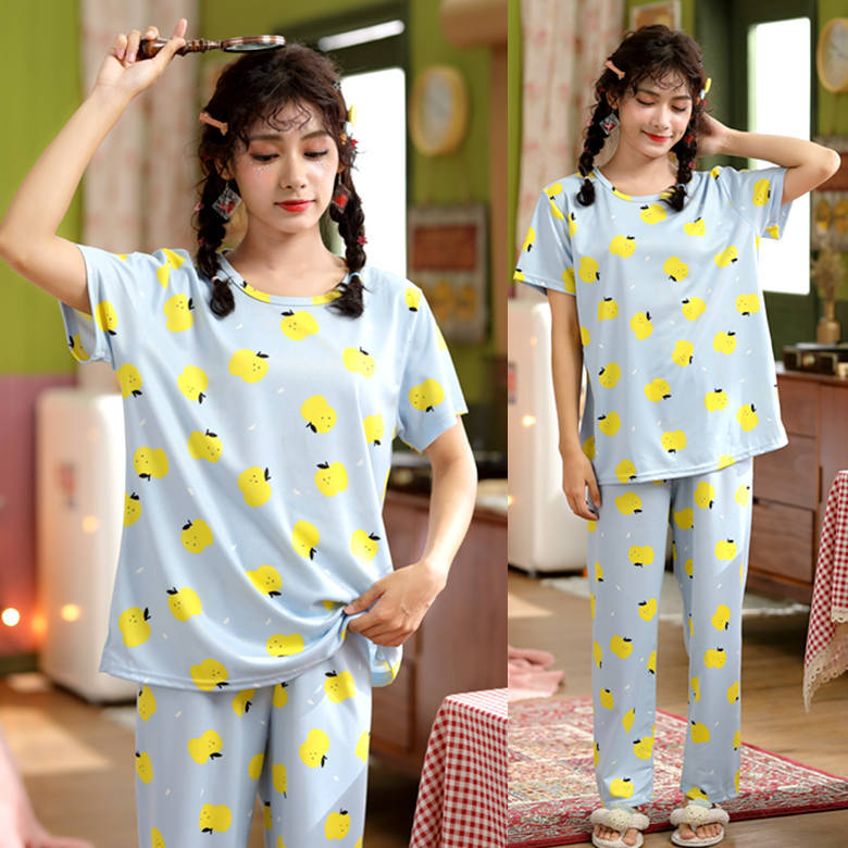 Summer Short-sleeved Trousers Pajamas Women's Blue Apple M -Xxl