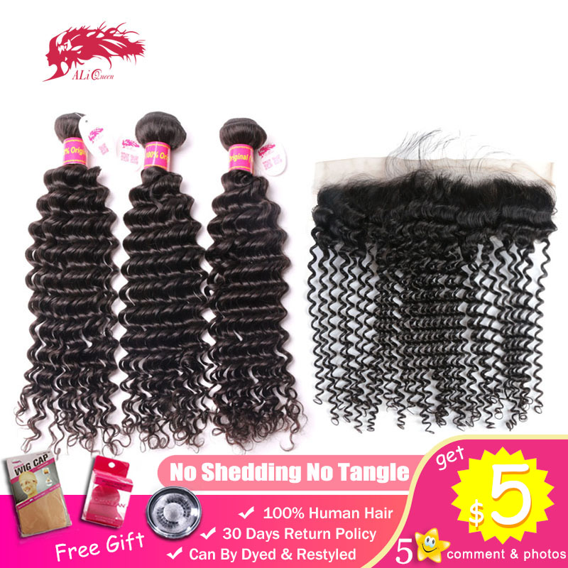 Ali Queen Hair Bundles With Frontal Deep Wave Brazilian Unprocessed Virgin Human 130% 13x4 Lace Closure Free Part Natural Color