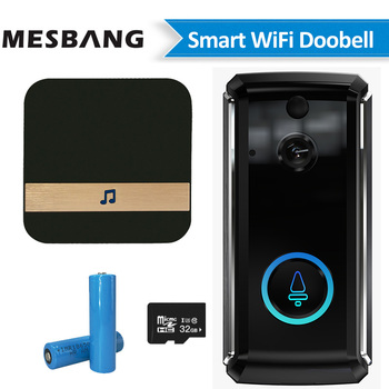New wifi video doorbell wireless battery video door phone intercom smart door bell camera  with TF card chime free shipping
