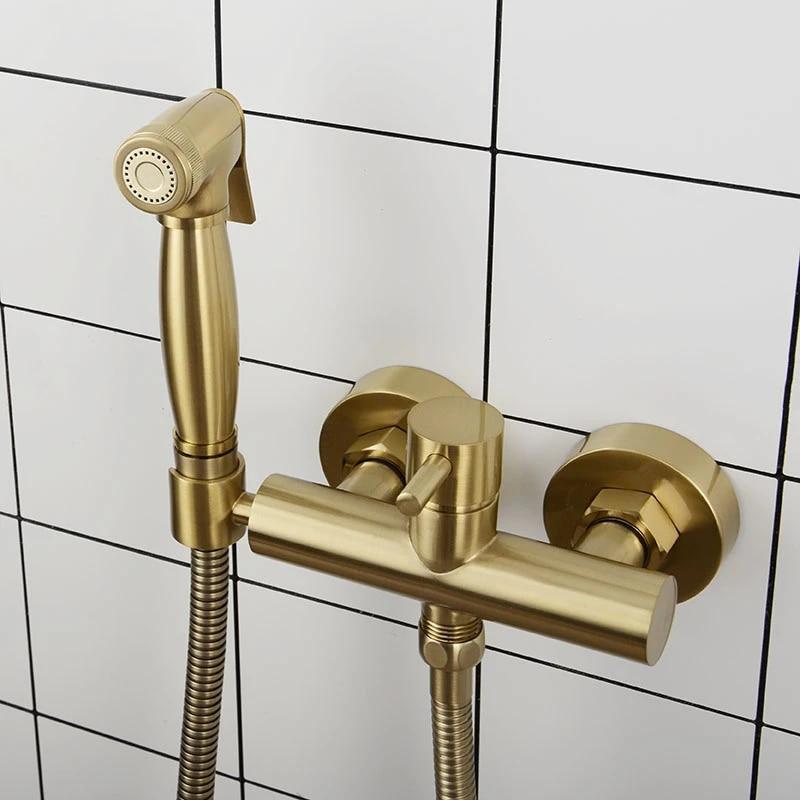 Brushed Gold Brass Bathroom Bidet Faucet Wall Mounted Hot Cold Water Mixer Bidet Sprayer Bidets Aliexpress