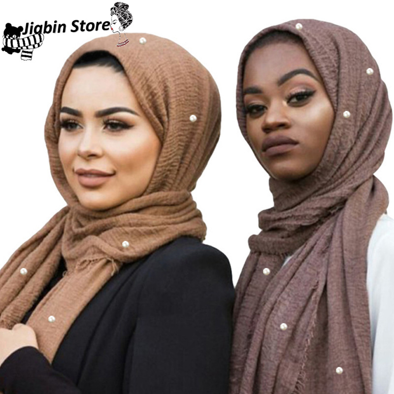 Ladies Fashion Bubble Cotton Beads Wrinkle Scarf Shawl Plain Crumple Pearl Wrap Foulard Pashmina Muslim Headband Hijab 95*180cm