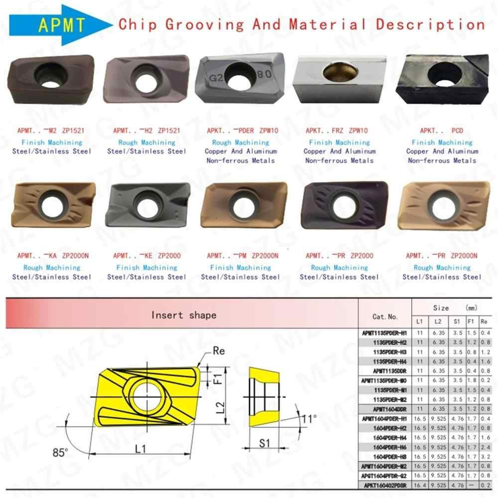 MZG سعر الخصم APKT1135PDER-AL ZK01 متوسطة التشطيب النحاس و الألومنيوم تجهيز CNC شفرة طحن