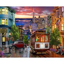 Diy картина по номерам ночь масляной Раскраска пейзаж настенная