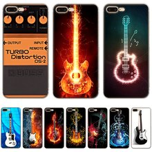Mobile Phone Case para iPhone 5 11 Pro X XR XS Max 5S SE 6 6S 7 8 Plus capa dura Nota Da Música Electric Bass Guitarra Azul(China)