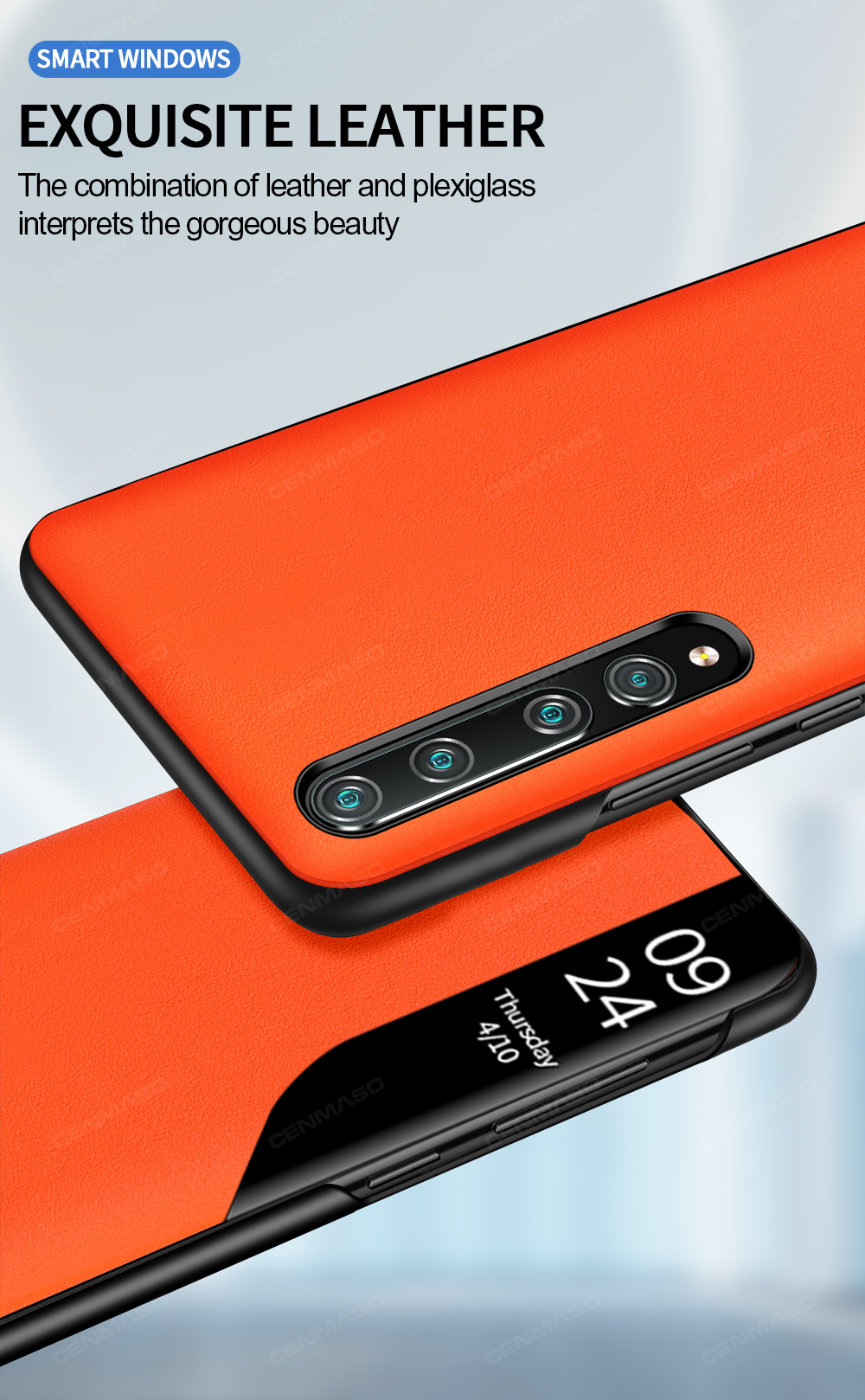 funda de piel original Oihxse de silicona transparente color azul Funda para Xiaomi Mi 10//Mi 10 Pro Smart View con funci/ón atril y cierre magn/ético