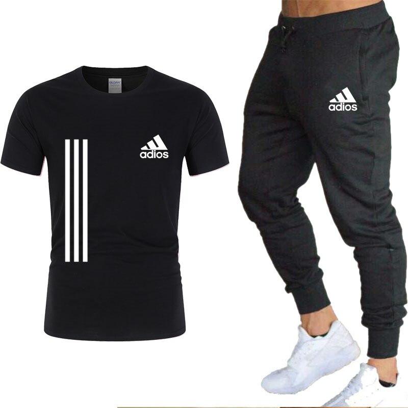 Спортивный костюм мужской из двух предметов, повседневная брендовая одежда, спортивный костюм, Размеры S 3XL, на лето