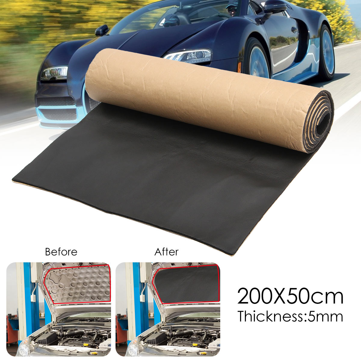 200cmx50cm 5mm Car Sound Proofing Cotton Rubber Deadening Anti-noise Sound Insulation Cotton Heat Closed Cell Foam Self Adhesive