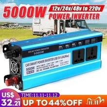 שמש מהפך DC 12V 24V 48V ל ac 220V 3000W 4000W 5000W מהפך מתח שנאי ממיר LED עבור רכב בית