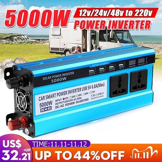 Solar Inverter DC 12V 24V 48V to AC 220V 3000W 4000W 5000W Inverter Voltage Transformer Converter LED for Car Home