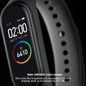 Image 4 - Oryginalna marka Xiaomi Mi zespół 4 5 inteligentny zegarek Mi zespół 5 Fitness bransoletka AMOLED kolorowy ekran tętno kontrola muzyki inteligentny zespół