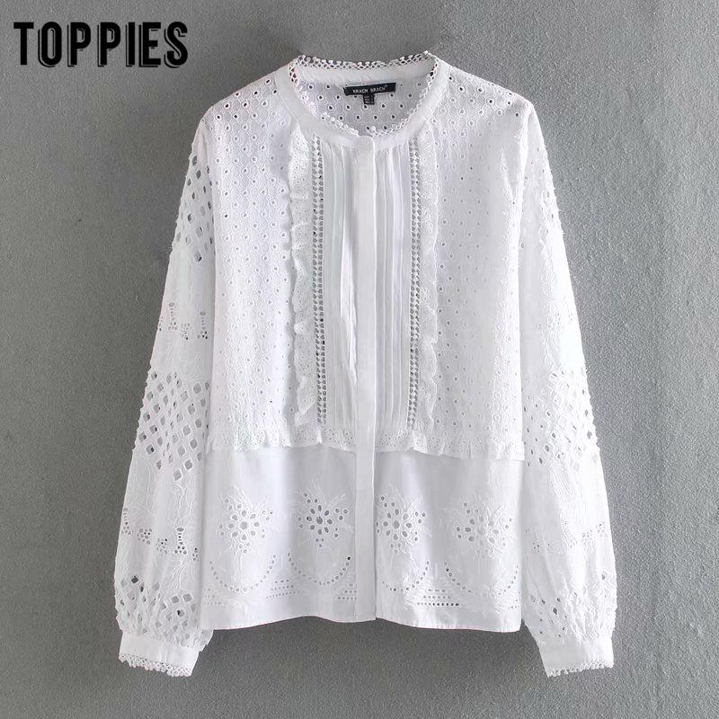 White Hollow Embroidered Shirt Summer Long Sleeve Blouses Tops Women Ruffles Korean Clothes