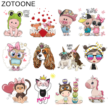 ZOTOONE Cute Cartoon Animal Patches Heat Transfer Iron on Patch for T-Shirt Children Gift DIY Clothes Stickers Heat Transfer I zotoone owl animal heat transfer patches for clothing sticker diy cute iron on letter transfert thermocollants t shirt printed g