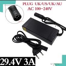 1PC 24V E bike battery charger 29.4V3A out put li ion battery charger 7 Series 25.2V 25.9V lithium battery charger XLR connector
