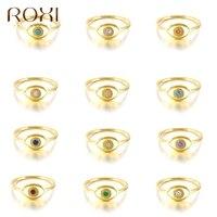 ROXI de circón colorido ojos Anillos de oro para las mujeres Vintage de la boda anillo de Plata de Ley 925 bisutería Bague anillo de dedo Anillos