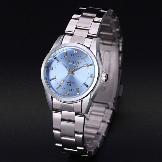 2020 Fashion Sky Blue Watch Women Watches Stainless Steel Band Analog Quartz Wristwatches Cheap Price Free Shipping Reloj Mujer