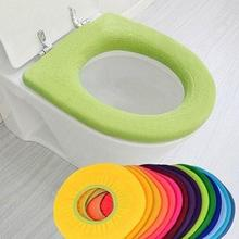 Pure Color Warm Toilet Washable Seat Cover Pad Cushion Seat Case Warmer Toilet Lid Cover Accessories Home Bathroom Decoration