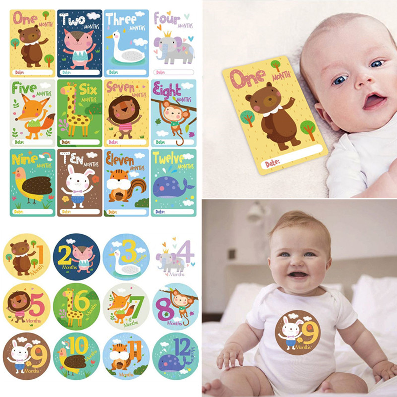 24 Pcs/set New Cartoon Baby Monthly Sticker Card Newborn Children Milestone Photo Accessories Infants Photography Props