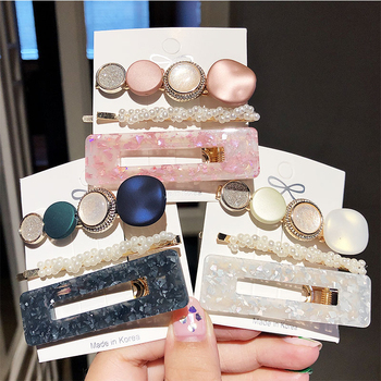 New 3PCS/Set Fashion Pearls Acetate Geometric Hair Clips For Women Girls Headband Sweet Hairpins Barrettes Hair Accessories Gift
