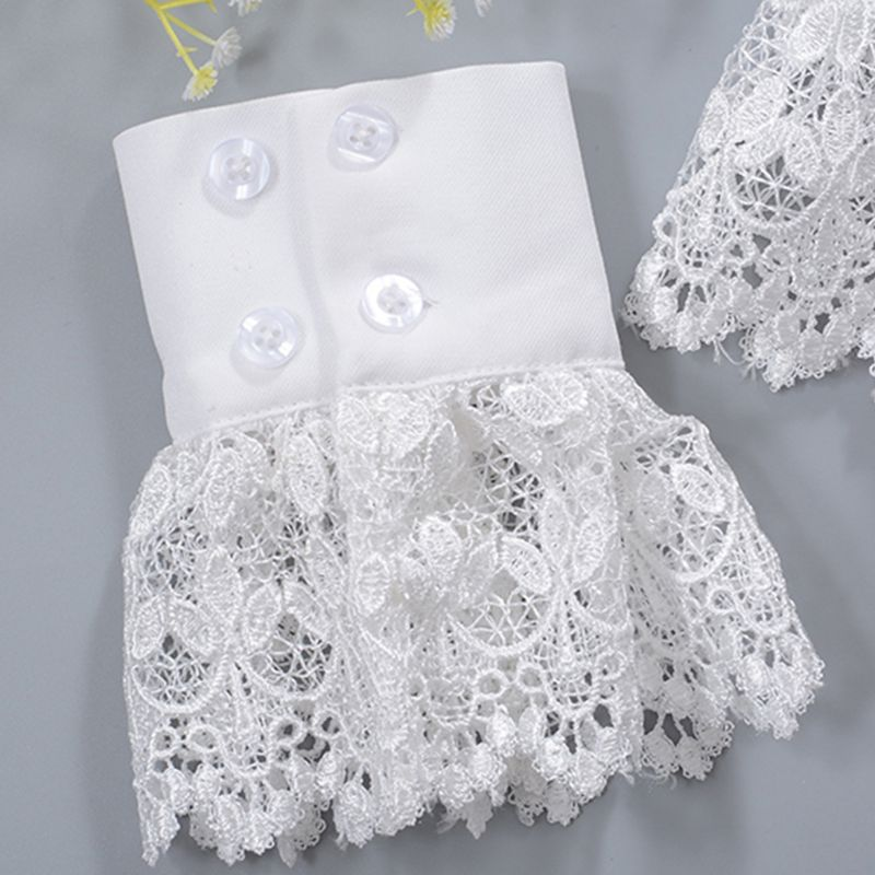 2pcs/pair Women Girl Fake Cuff Gloves Crotchet Floral Lace Pleated Ruched Hollow 40JF